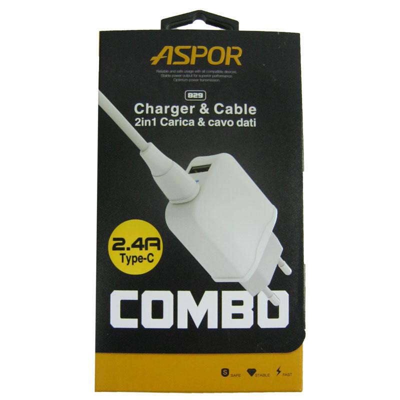 Зарядное устройство ASPOR A829 2-USB; 2,4A+кабель Type-C