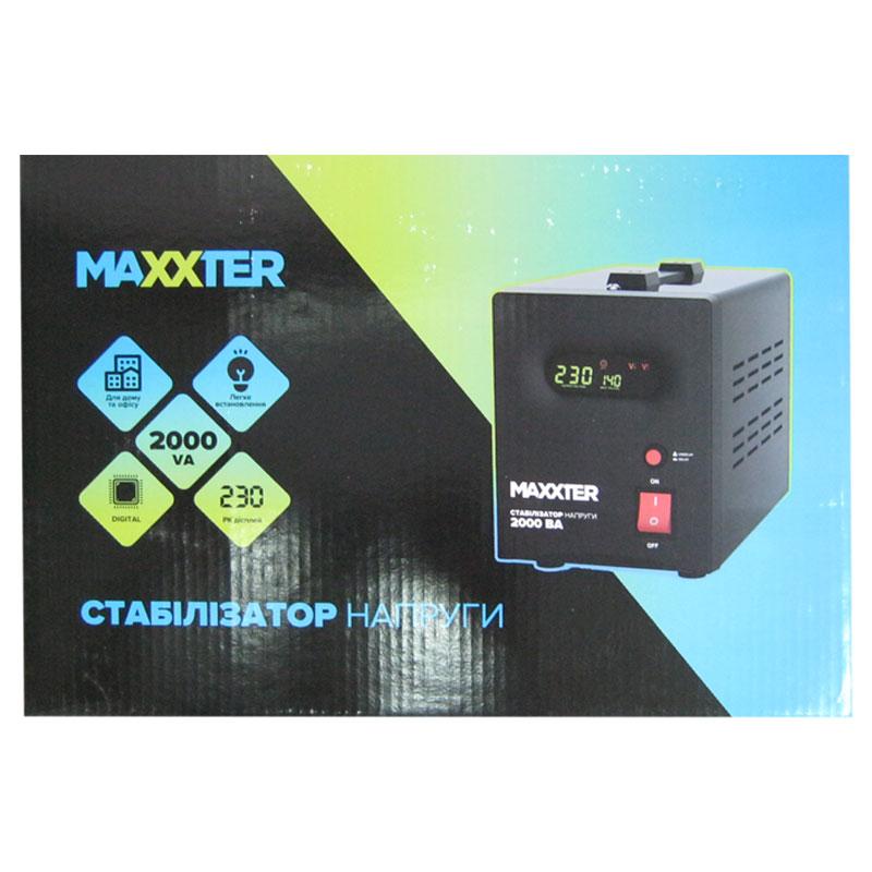 Стабилизатор Maxxter MX-AVR-S2000-01(1200W);цифровой,m=6.0кг(204x280x119mm)