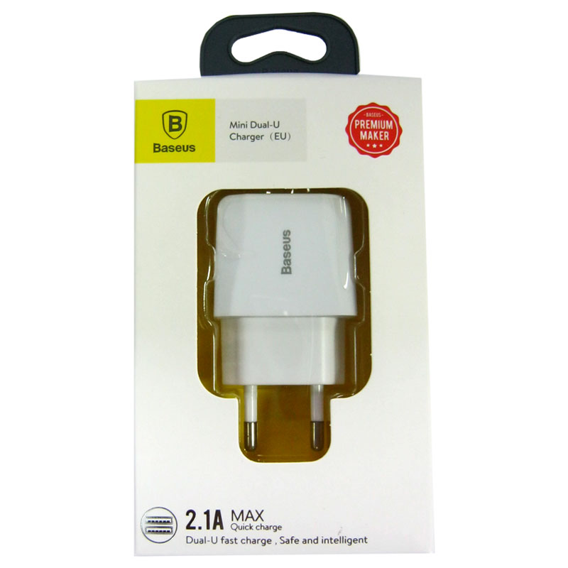 Зарядное устройство Baseus Wall Charger 2-USB 2,1A White