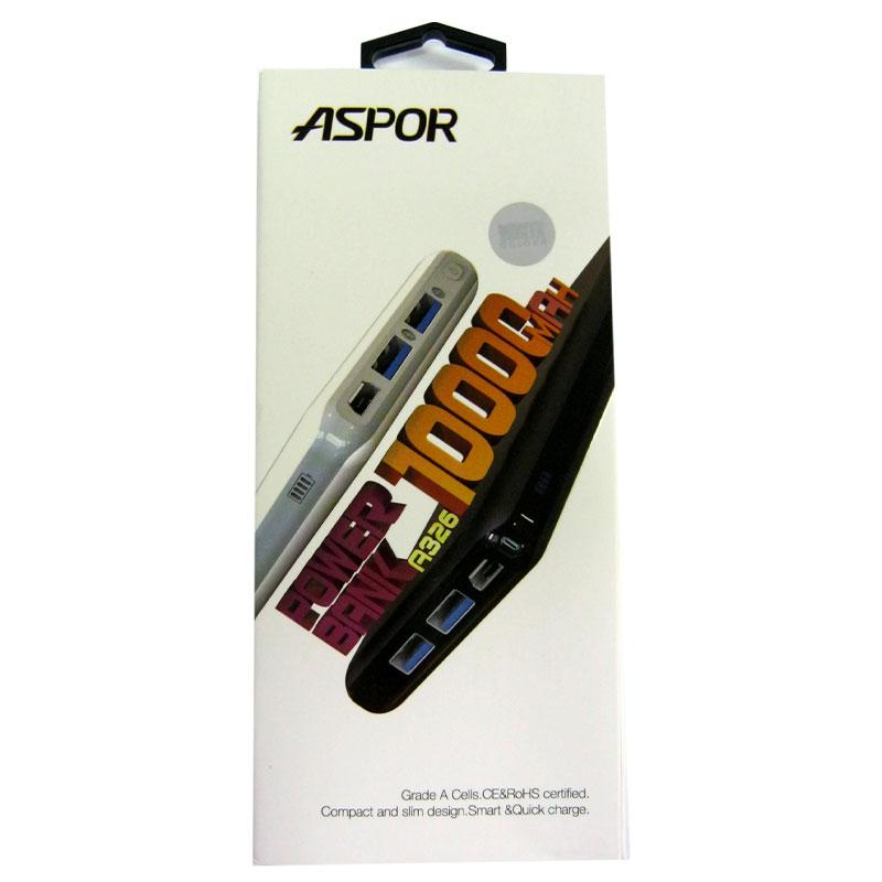 Портативное зарядное устройство ASPOR A326 Li-Pol(10000mAh) 2USB/2А+2A