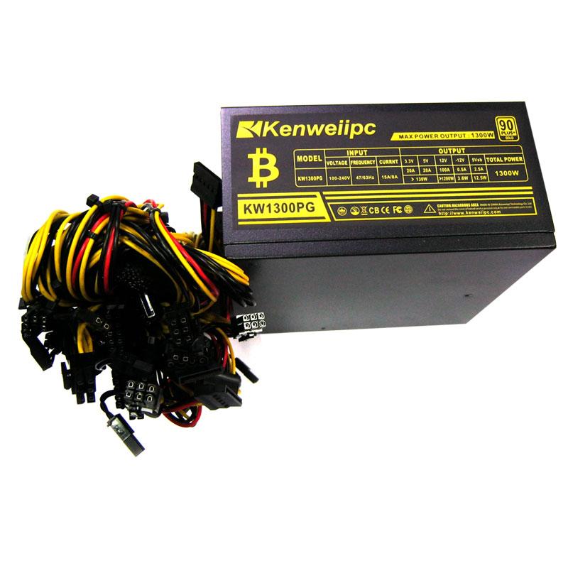 Блок питания Kenweiipc KW-1300PG 1300W 14cm fan;1*3+2*2 SATA;PCI-E;24+4+6+2*6/8;80+Gold;BU