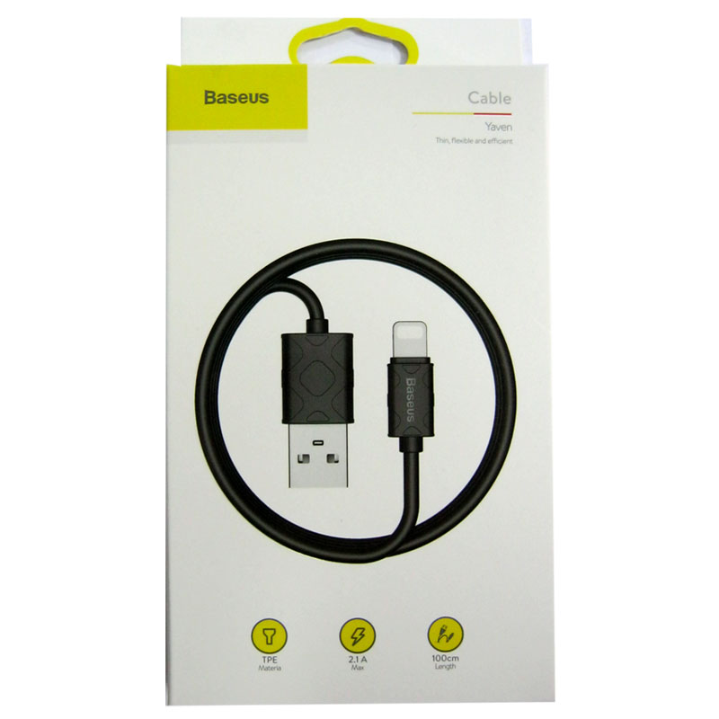 Кабель Lighting-USB Baseus Yaven 1,0м , 2,1А , Black