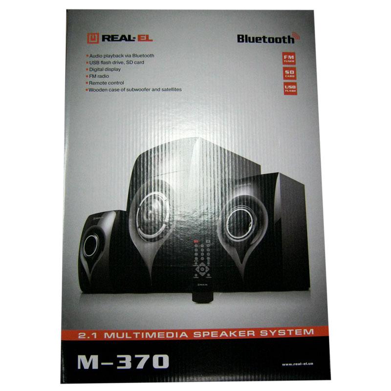 Колонки REAL-EL M-370 (black),2.1 20W Woofer, 2x12Wspeaker BT,LED,FM,SD,пульт ДУ