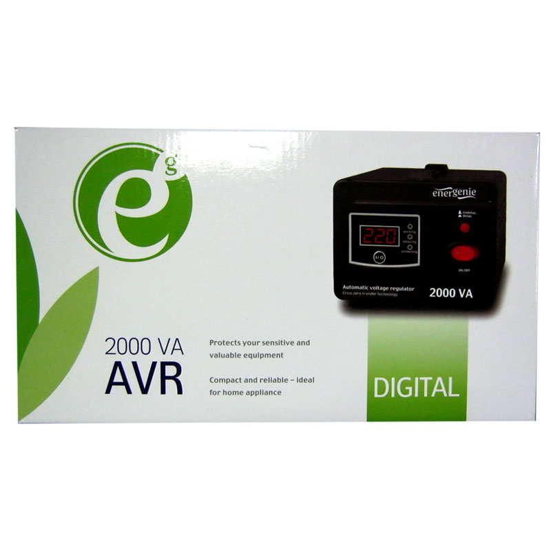 Стабилизатор EnerGenie EG-AVR-D2000-01(1200W);цифровой,m=4.1кг(240x160x118mm)