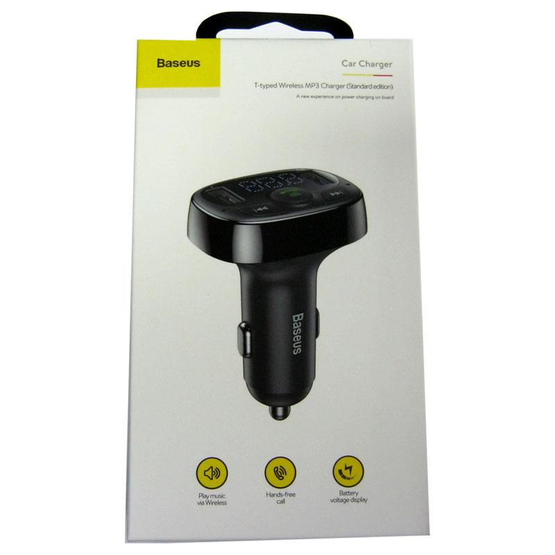 FM модулятор для автомобиля Baseus T type Bluetooth MP3 charger black