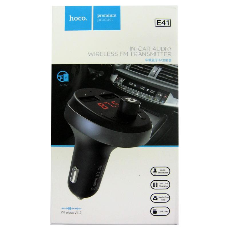 FM модулятор для автомобиля Hoco E41+ bluetooth