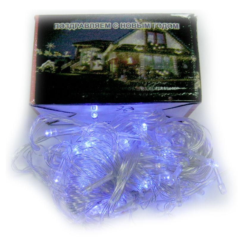 Гирлянда новогодняя 100 LED синий свет;10m(прозрачный провод,с переключением режимов)