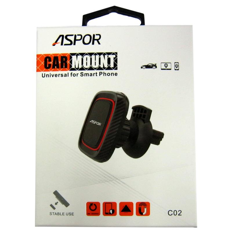Держатель для телефона в машину ASPOR магнитный С-02 на решетку черный с красным