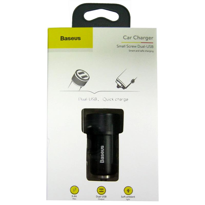 Автомобильное зарядное устройство Baseus Small Screw 3.4A (2USB) black