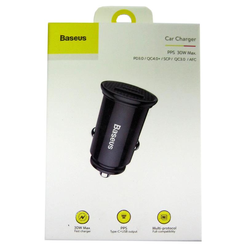 Автомобильное зарядное устройство Baseus Circular Plastic 30W (USB+Type C) black