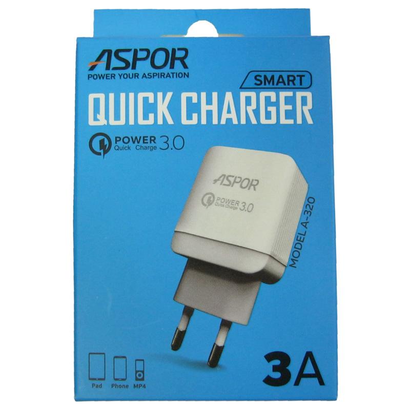 Зарядное устройство ASPOR A320 Quick Charge3.0 (5V/3.0A;9V/2.4A;12V/1.8A)