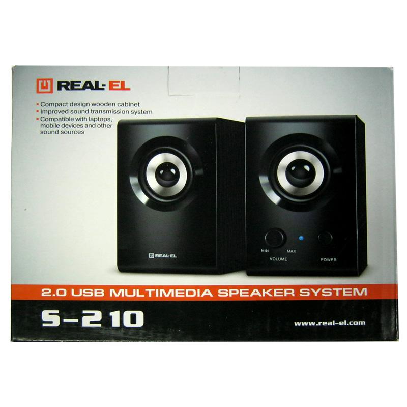 Колонки REAL-EL S-210 (black), 2x3W, USB