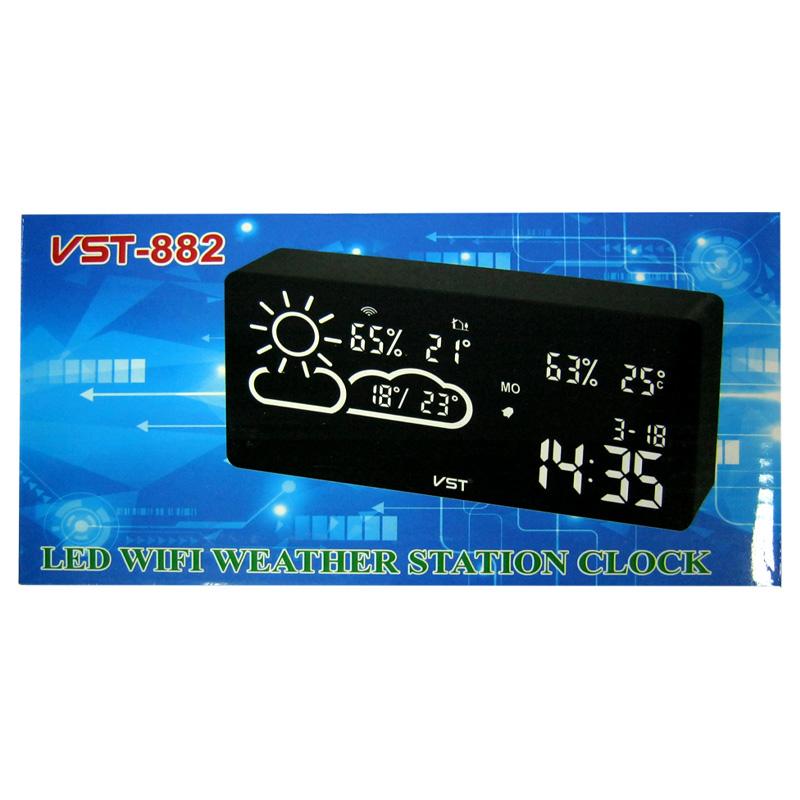 Часы с метеостанцией VST-882-1(Распродажа)(с красной подсветкой,дисп.7,5