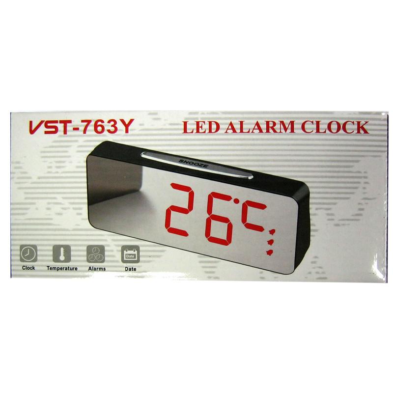 Часы VST-763Y-1(с красной подсветкой,с зеркальным дисплеем 7,8
