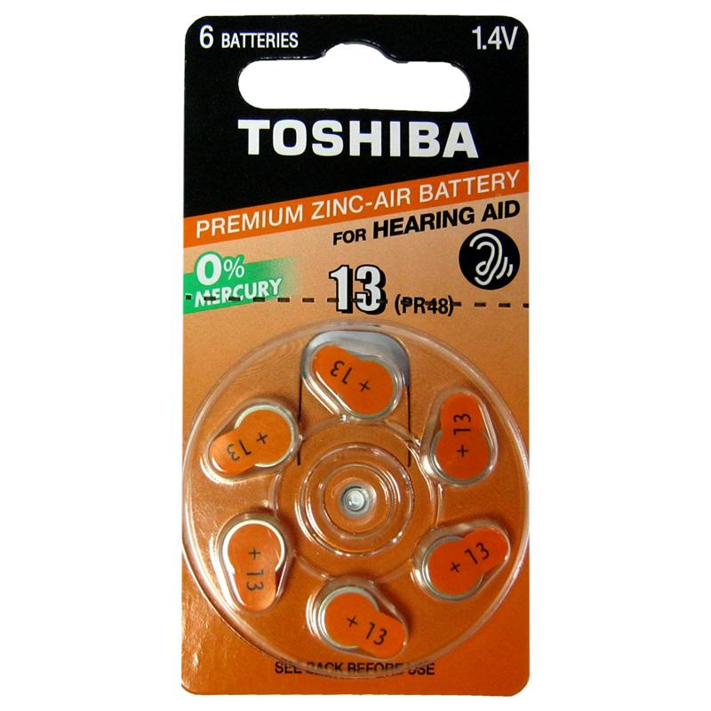 Батарейка Toshiba PR48(Type13) 1,45V(по 6шт,для слуховых аппаратов)