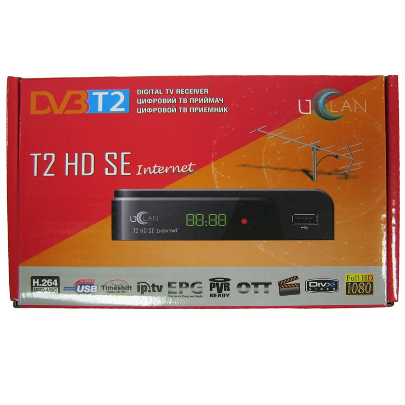 Тюнер DVB-T2 uClan T2 HD SE LED(гар.14дн.) (дисплей;IPTV;YouTube;USB 2.0)