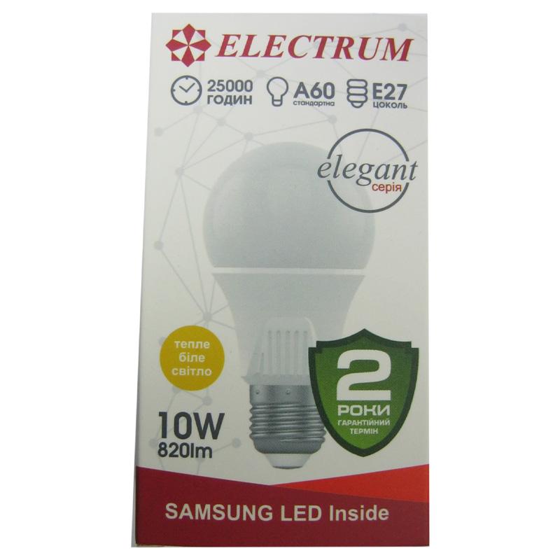 Лампочка светодиодная ELECTRUM A60 10W E27 3000K (Супер цена)