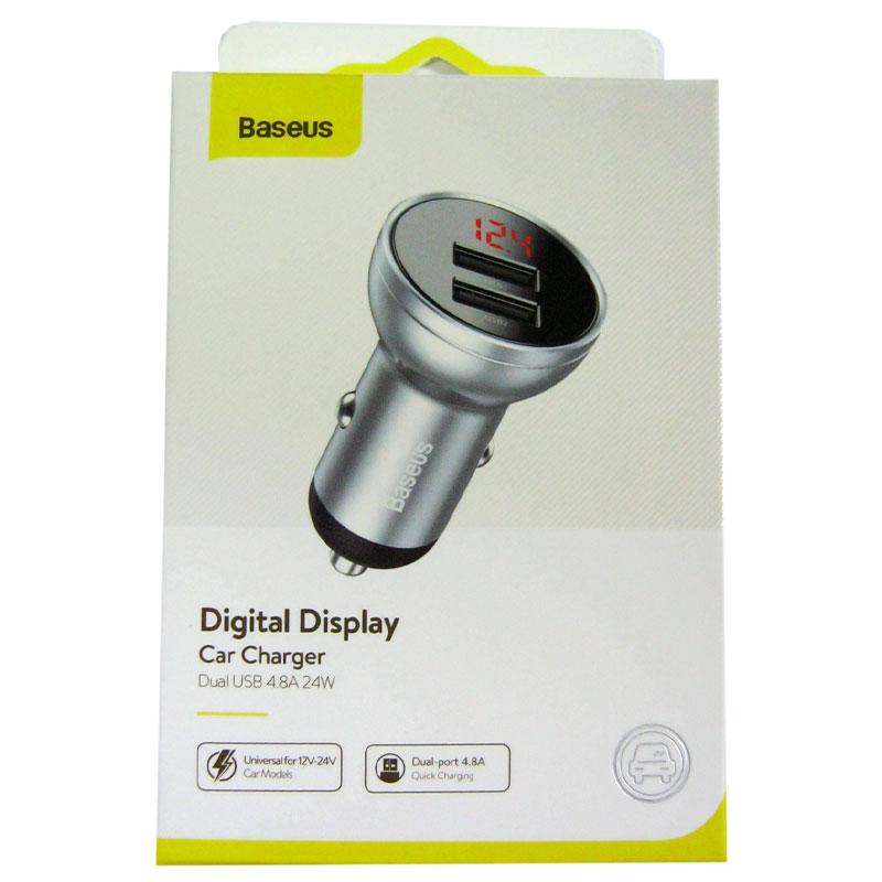 Автомобильное зарядное устройство Baseus Digital display dual 4.8A(2USB) silver