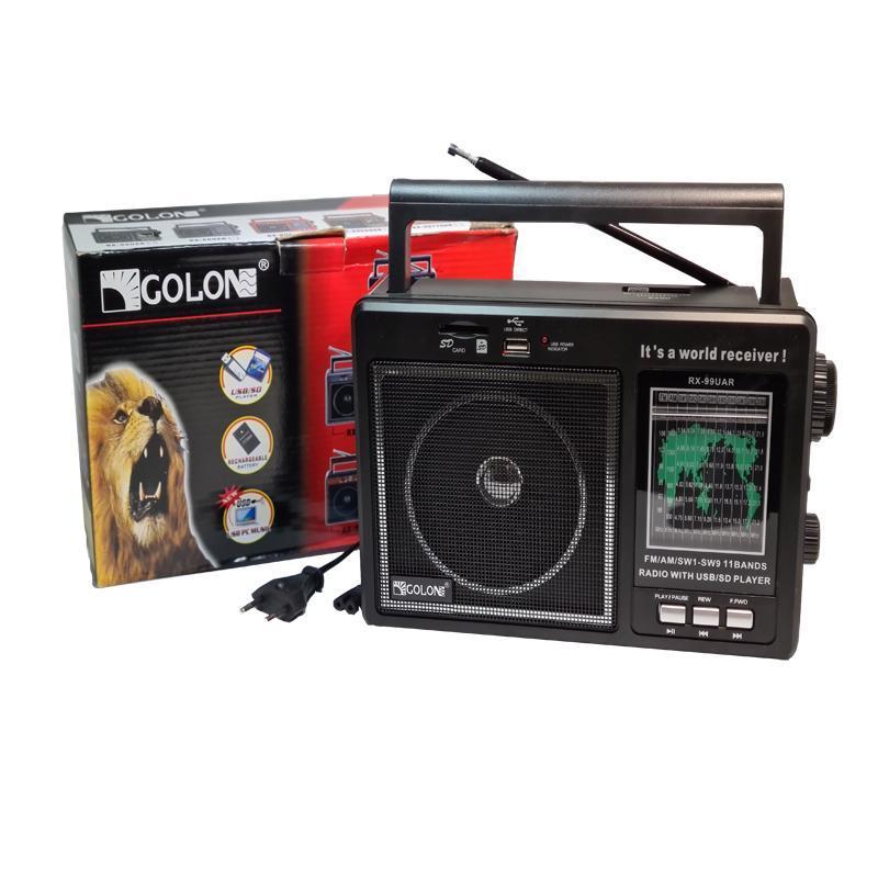 Радиоприёмник GOLON RX-99UAR(сеть+аккум;с USB;SD;FM)