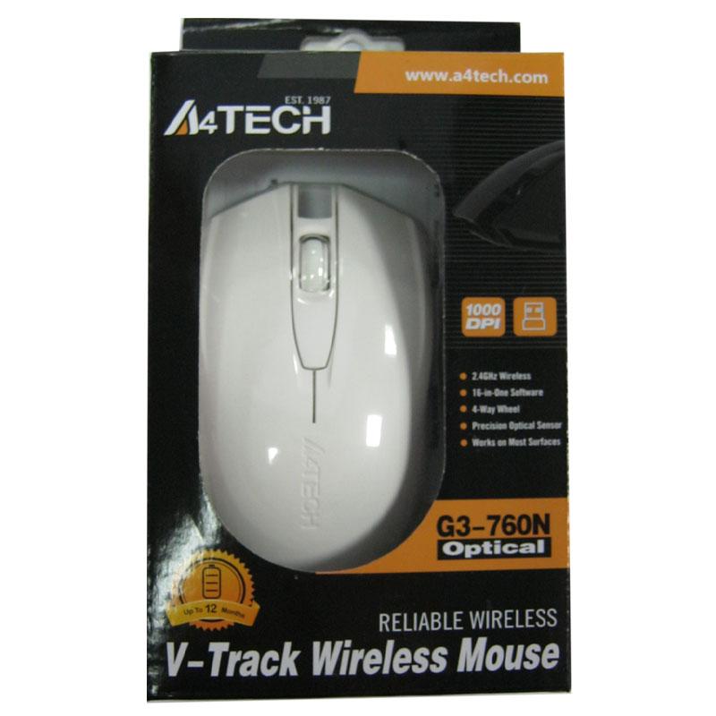 Беспроводная мышка A4Tech G3-760N White,V-TRACK USB