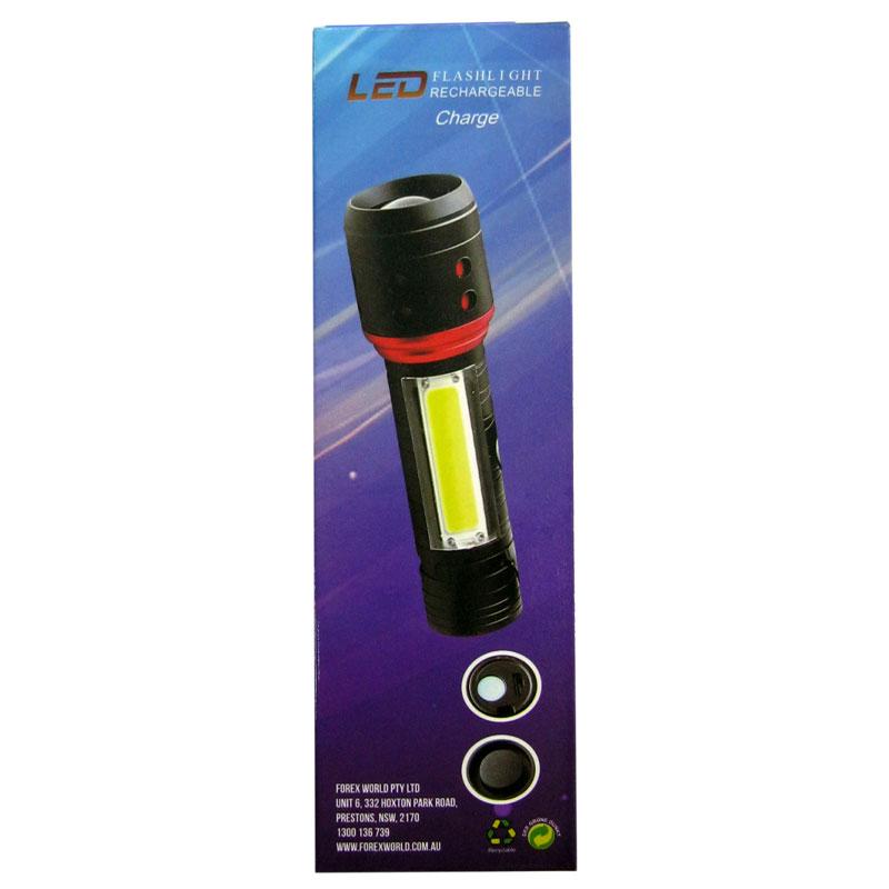 Фонарь аккумуляторный Bailong BL-555-T6+COB (встроен.аккум;.кабель microUSB; 4 реж.)