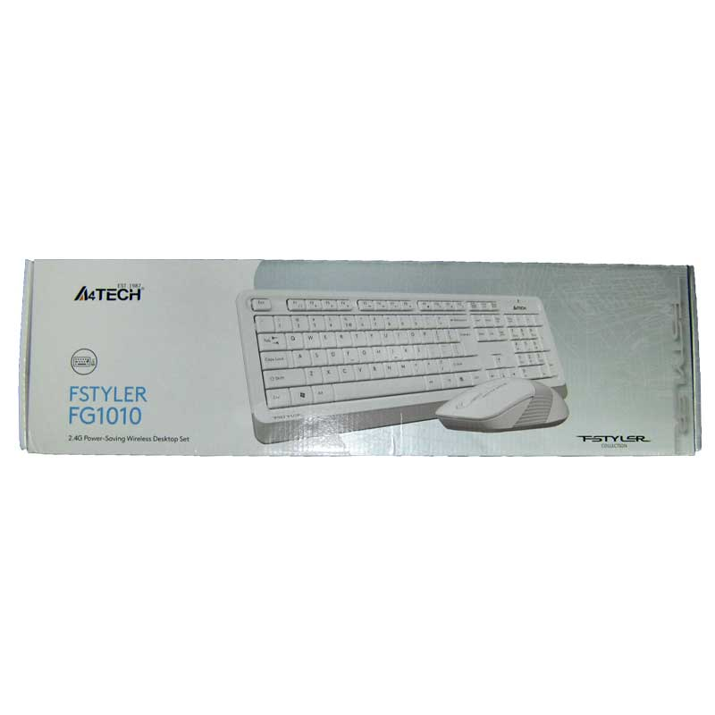 Беспроводная клавиатура A4Tech FG1010 white-grey,USB +мышка до 15м