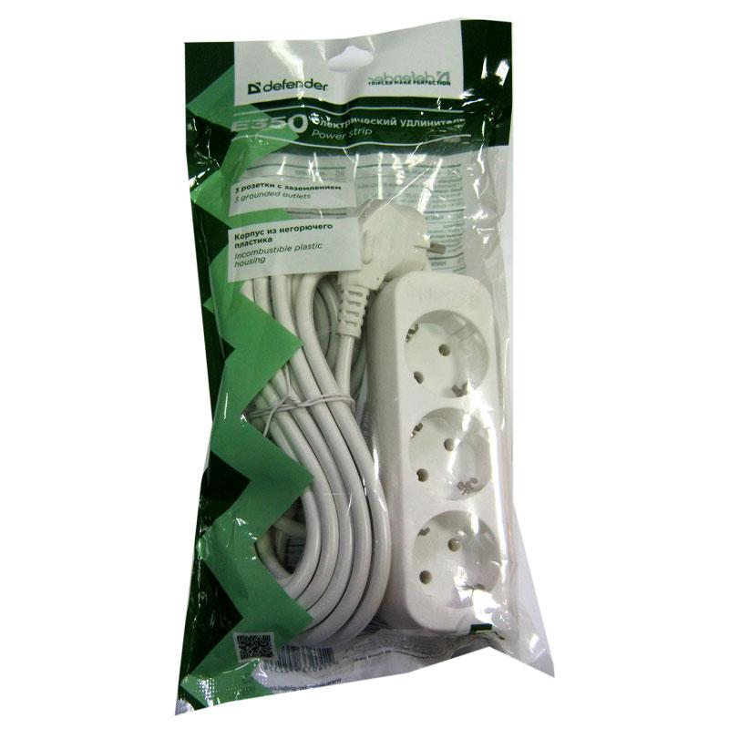 Удлинитель Defender E350 (5,0м/3роз);c заземлением;ток10А