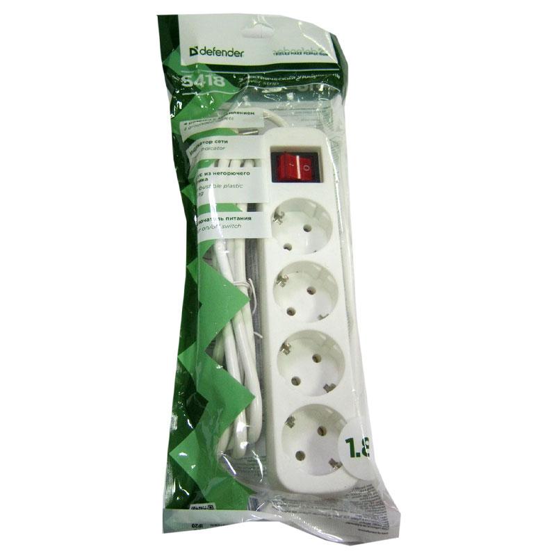 Удлинитель Defender S418 (1,8м/4роз); зазем.+выкл.;ток10А