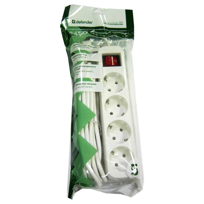 Удлинитель Defender S450 (5,0м/4роз); зазем.+выкл.;ток10А