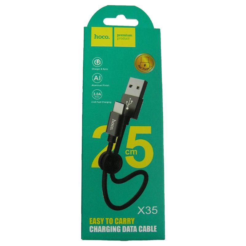 kabel-hoco-x35-premium-original-usb-type-c-0-25m-3-0a-black