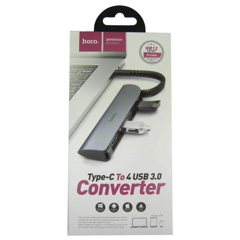 koncentrator-usb-hub-hoco-hb12-type-c-4usb3-0-silver