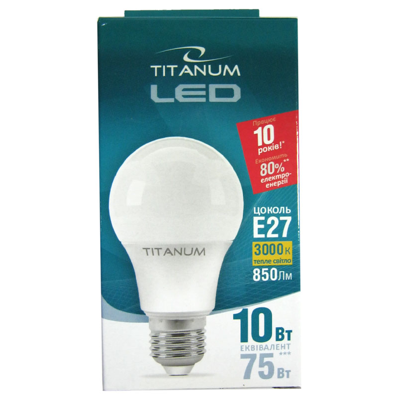 Лампочка светодиодная Titanium A60 10W E27 3000K