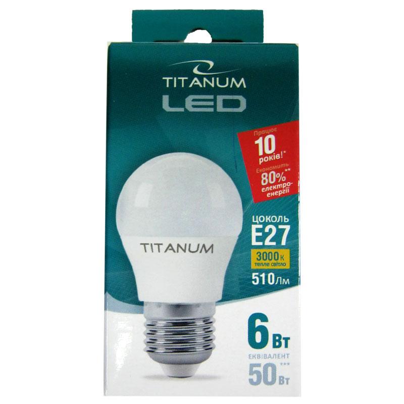 Лампочка светодиодная Titanium G45 6W E27 3000K шар