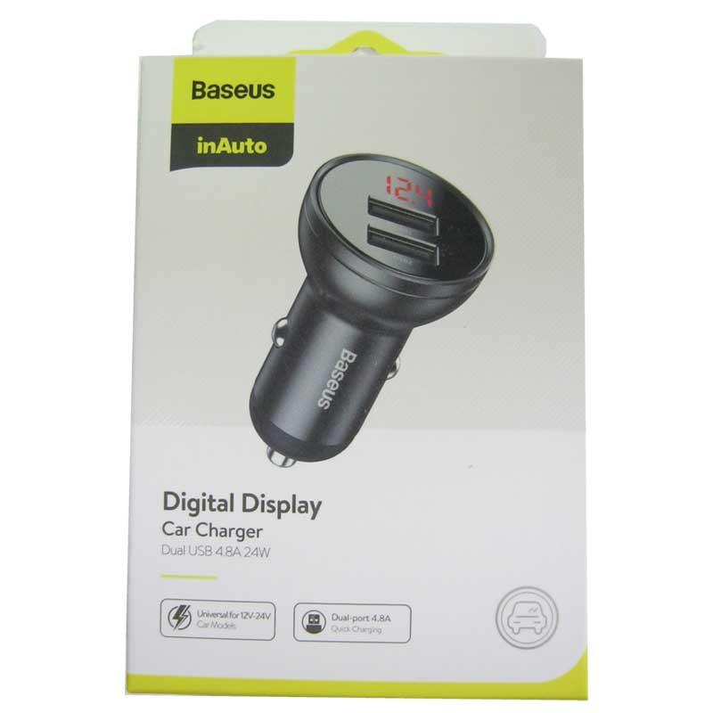 Автомобильное зарядное устройство Baseus Digital display dual 4.8A(2USB) gray