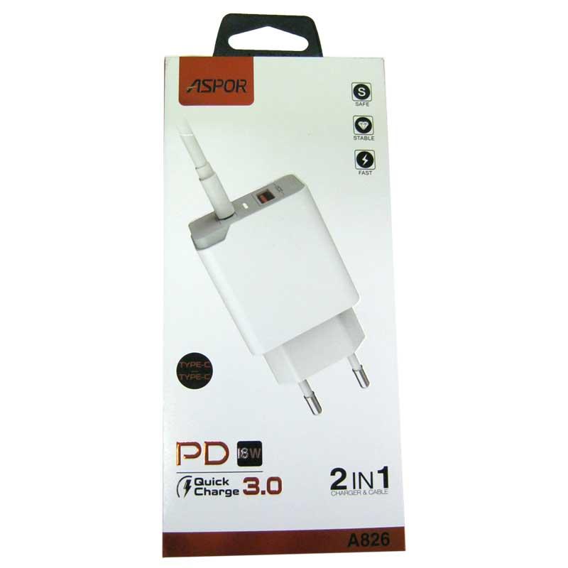Зарядное устройство ASPOR А846 (1USB+PD/18W)+кабель Type-C to Type-C;QuickCharge3.0