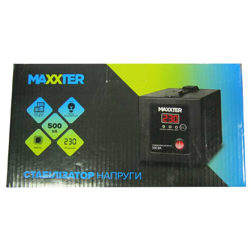 Стабилизатор Maxxter MX-AVR-E500-01(300W);цифровой