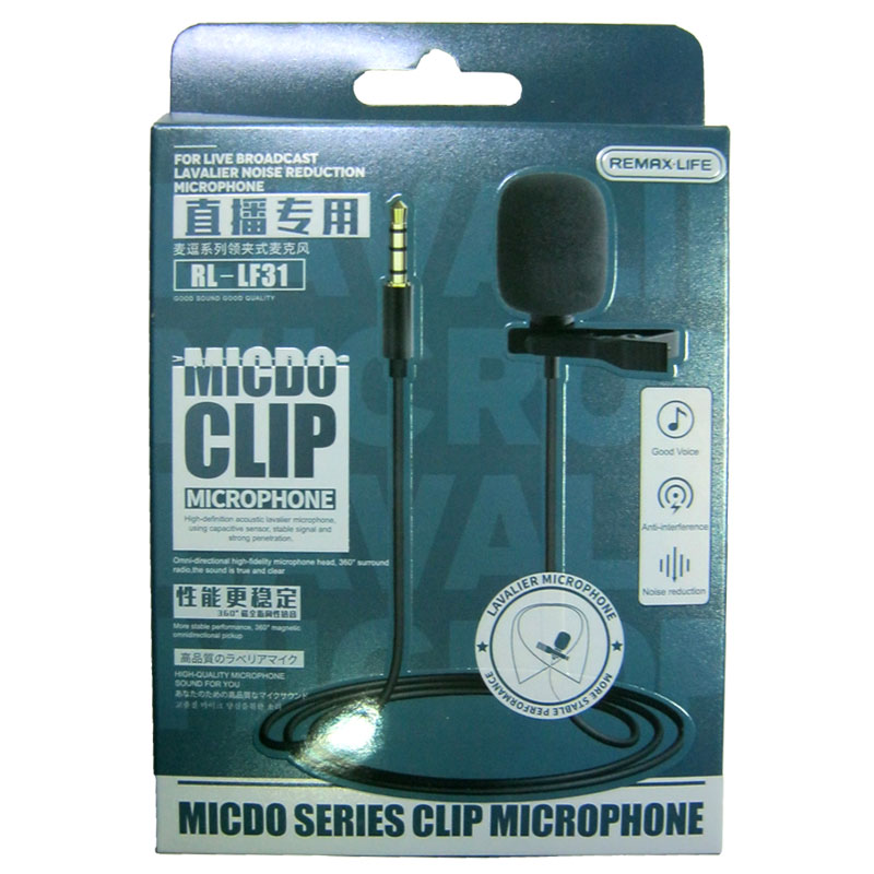 Микрофон Remax RL-LF31 3.5mm, Black, с клипсой