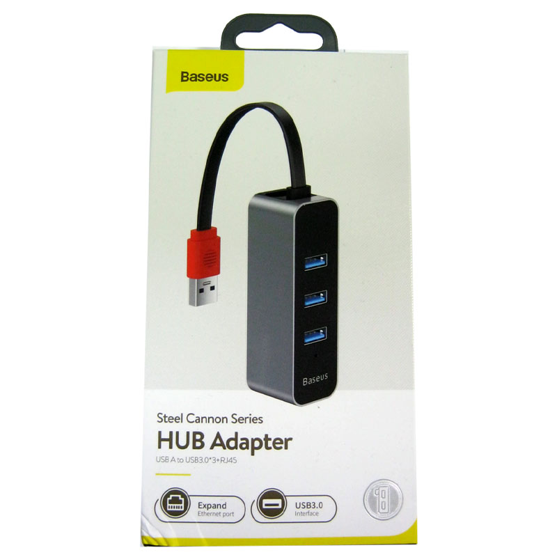 Концентратор Baseus Steel Cannon series HUB USB-USB3.0(3port)+RG45 black