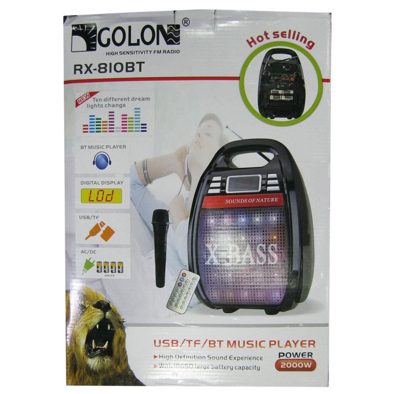 Портативная колонка Bluetooth GOLON RX-810BT(аккум.,микраф.,светомуз.2динамика;FM;USB;SD)390cmx220cm