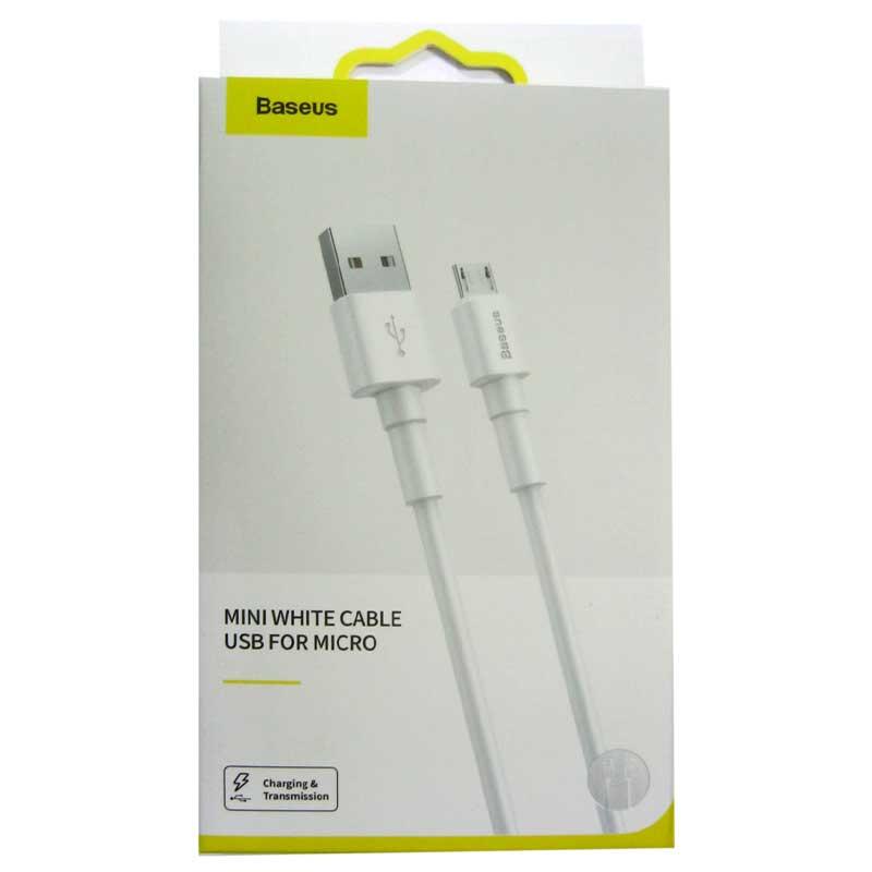 Фото нетКабель Baseus mini white cable USB-microUSB, 2.4A. 1.0m ,