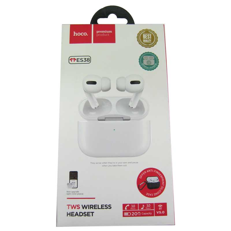 Bluetooth гарнитура BT Hoco ES38 V5.0 ваккум. white(сенсорные с кейсом)