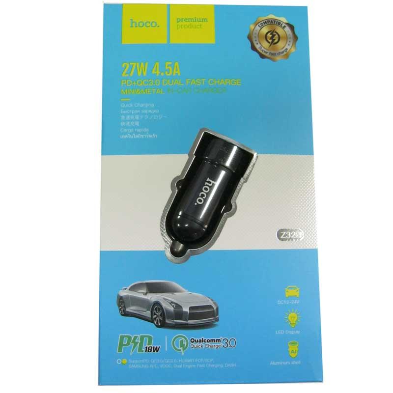 avtomobil-noe-zaryadnoe-ustroystvo-hoco-z32b-pd-qc3-0-4-5a-27w-1-usb-black