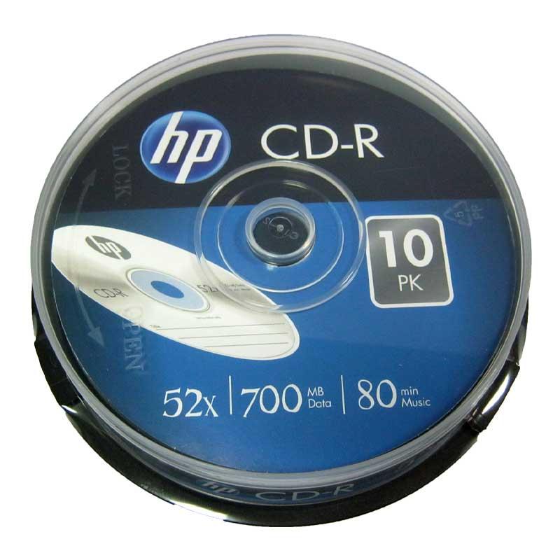 Диск CD-R HP 700Mb/80min 52x (cake 10)