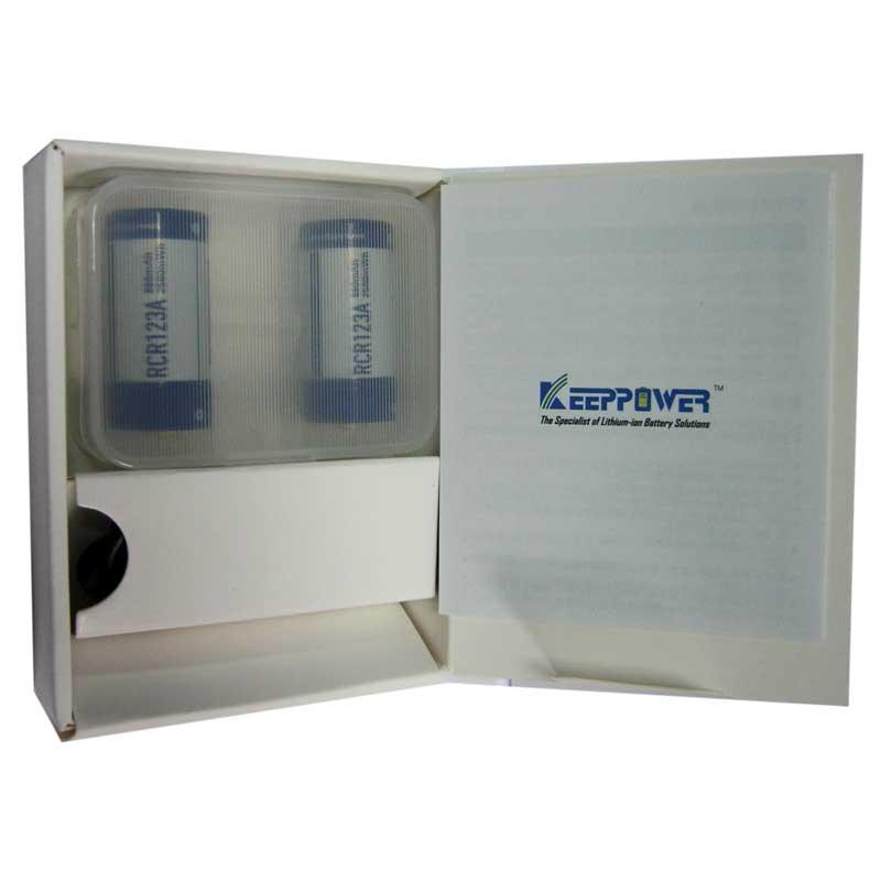 Аккумулятор 16340 (CR123) Keepower 860mAh 3.0V Li-ion(комплект 2шт+ кабель для зарядки)