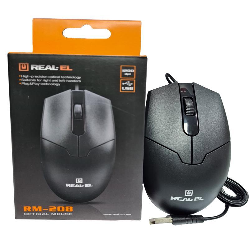 Компьютерная мышка REAL-EL RM-208 black, USB