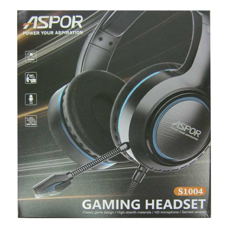 Наушники с микрофоном Aspor S1004 Gaming, с рег.громкости, Jack 4Pin+адаптер для ПК