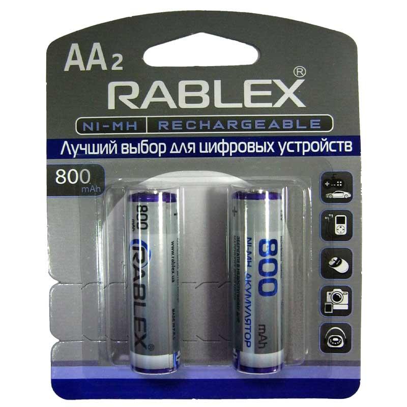 Аккумулятор AA Rablex 800mAh NiMH , 1шт (блистер по 2шт) HR6