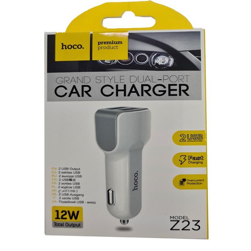 Автомобильное зарядное устройство HOCO Z23 2,1A (2USB) white