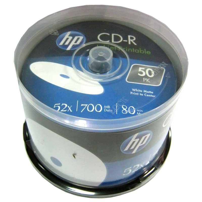 Диск CD-R HP 700Mb/80min 52x (cake 50) Printable white