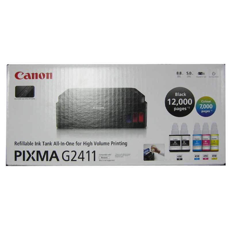 Принтер МФУ Canon MG2411, струйный c CНПЧ, USB